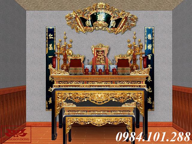 mẫu thiết kế 3d nội thất nhà thờ tư gia 03