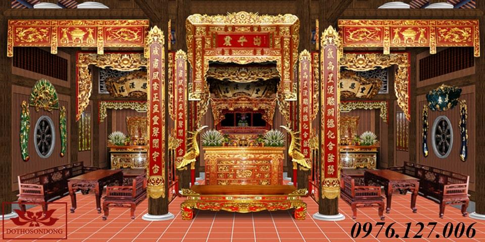 mẫu thiết kế 3d nội thất nhà thờ họ 01