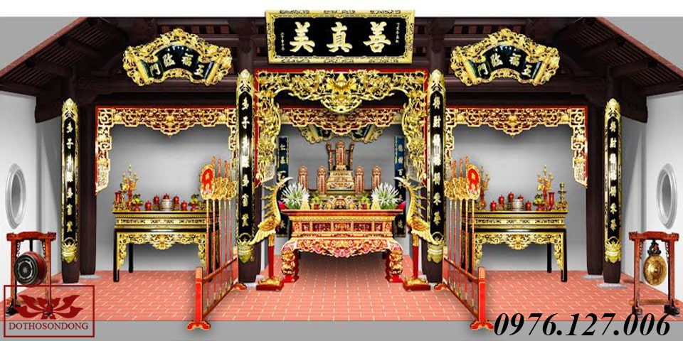mẫu thiết kế 3d nội thất nhà thờ họ 02