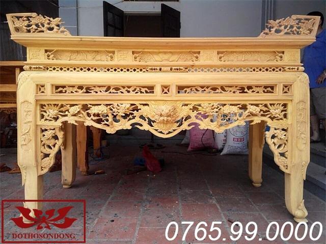 án gian thờ gỗ mít ms03 để mộc
