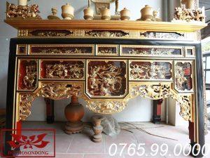 bàn thờ ô xa gỗ mít sơn son thếp vàng ms04