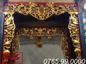 cửa võng tứ linh hóa gỗ dổi sơn son thếp vàng ms12