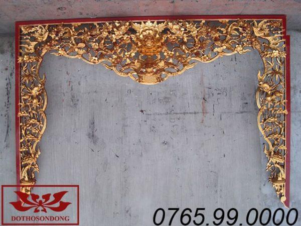 cửa võng tứ linh hóa gỗ mít sơn son thếp vàng ms06