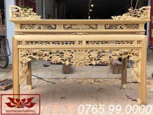 Án gian thờ gỗ dổi chạm hồng trĩ ms17
