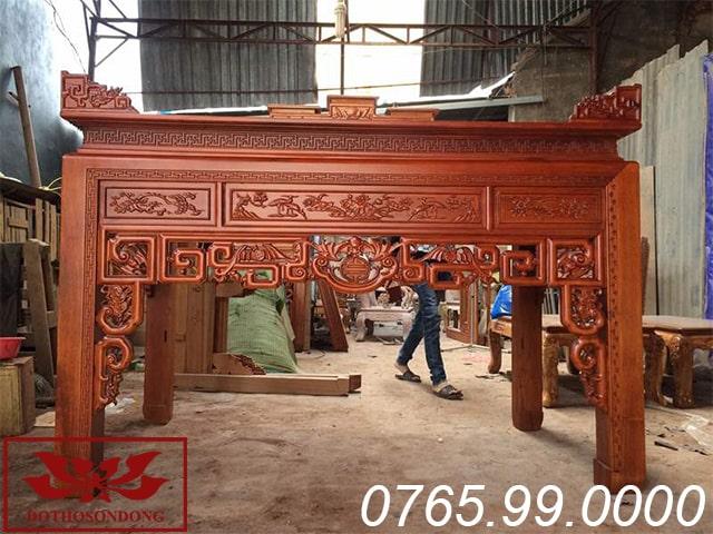 Án gian thờ gỗ gụ chạm ngũ phúc ms22