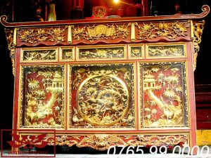 bàn thờ chấp tải gỗ mít sơn son thếp vàng ms01