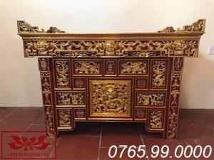 bàn thờ chấp tải gỗ mít sơn son thếp vàng ms06