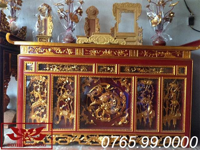 bàn thờ chấp tải gỗ mít sơn son thếp vàng ms09