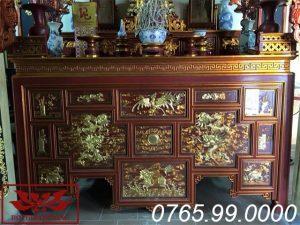 bàn thờ chấp tải gỗ mít sơn son thếp vàng giả cổ ms11