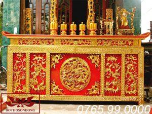 bàn thờ chấp tải gỗ mít sơn son thếp vàng ms12