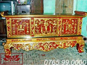 bàn thờ chấp tải gỗ mít sơn son thếp vàng ms14