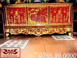 bàn thờ chấp tải gỗ mít sơn son thếp vàng ms15