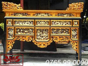 bàn thờ ô xa gỗ mít thếp vàng 24k