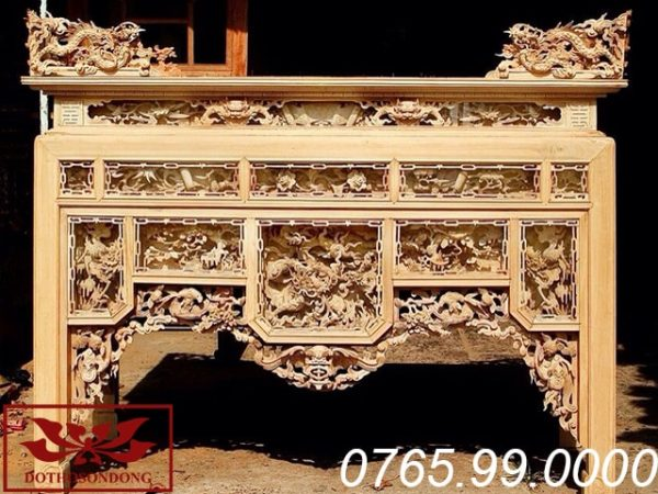 bàn thờ ô xa gỗ mít để mộc ms 17