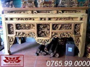 bàn thờ ô xa gỗ mít đục tứ linh hóa ms22