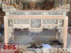bàn thờ ô xa gỗ vàng tâm để mộc ms21