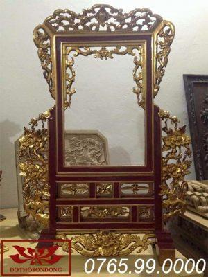 Khung ảnh thờ bằng gỗ mít sơn son thếp vàng ms03