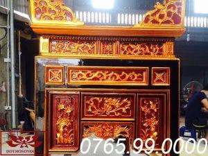 mặt bên ô xa thờ gỗ mít sơn son thếp vàng chạm khắc theo lối cổ ms23