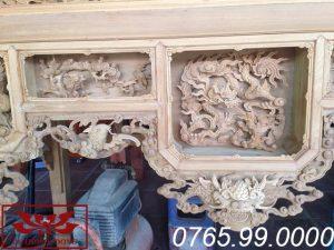ô giữa mẫu bàn thờ ô xa gỗ dổi đục tứ linh ms19