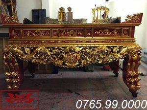 Sập thờ gỗ mít chạm mai điểu sơn son thếp vàng ms22