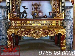 sập thờ gỗ mít chạm mai ngũ phúc sơn son thếp vàng