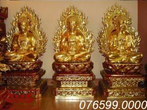 Tượng Tam Thế Phật gỗ mít sơn son thếp vàng ms01