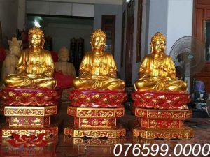 Tượng Tam Thế Phật gỗ mít sơn son thếp vàng ms02