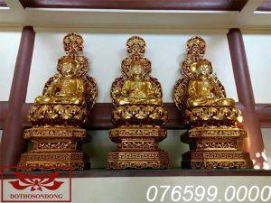 Tượng Tam Thế Phật gỗ mít sơn son thếp vàng ms03