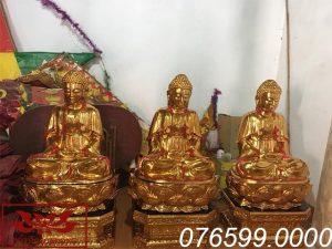Tượng Tam Thế Phật gỗ mít sơn son thếp vàng ms04