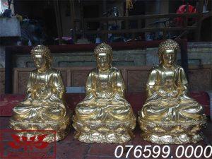 Tượng Tam Thế Phật gỗ mít sơn son thếp vàng ms05