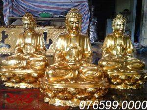 Tượng Tam Thế Phật gỗ mít sơn son thếp vàng ms06