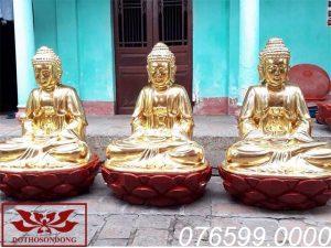 Tượng Tam Thế Phật gỗ mít sơn son thếp vàng ms07