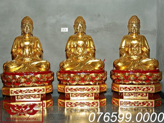 Tượng Tam Thế Phật gỗ mít sơn son thếp vàng ms08
