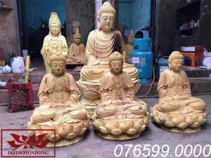 Tượng Tam Thế Phật gỗ mít ms09