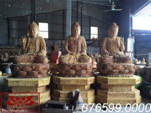 Tượng Tam Thế Phật gỗ mít ms10