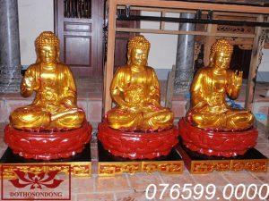 Tượng Tam Thế Phật gỗ mít sơn son thếp vàng ms11
