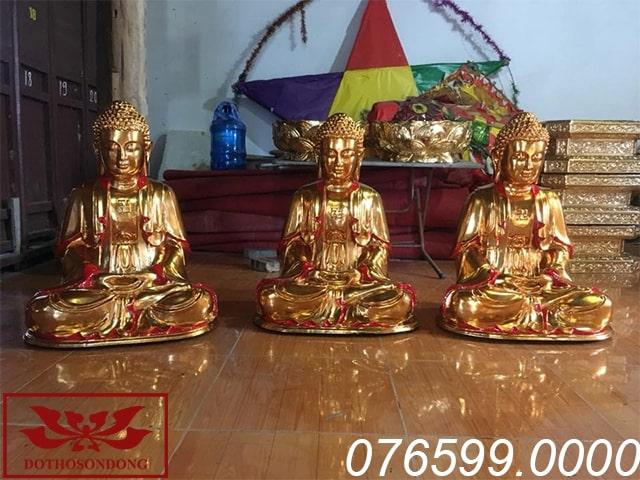 Tượng Tam Thế Phật gỗ mít sơn son thếp vàng ms12