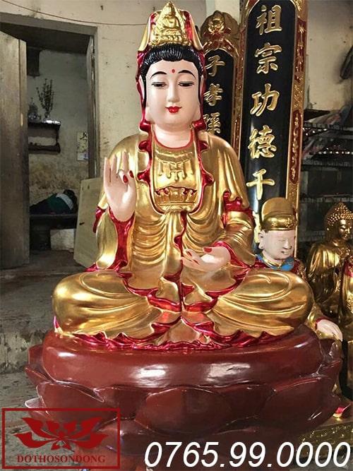 tượng phật bà quan âm gỗ mít sơn son thếp vàng ms03