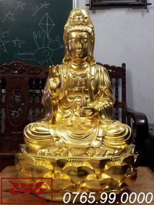 tượng phật bà quan âm gỗ mít sơn son thếp vàng ms06