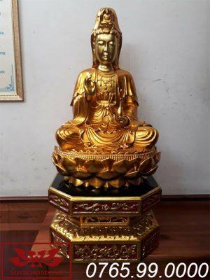 tượng phật bà quan âm gỗ mít sơn son thếp vàng ms09