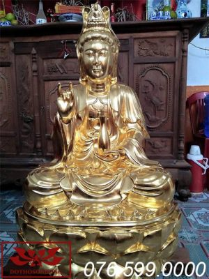 tượng phật bà quan âm gỗ mít sơn son thếp vàng ms10