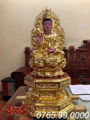 tượng phật bà quan âm gỗ mít sơn son thếp vàng ms11