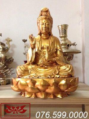 tượng phật bà quan âm gỗ mít sơn son thếp vàng ms12