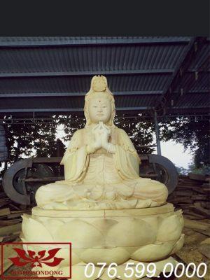 tượng phật bà quan âm gỗ mít ms17