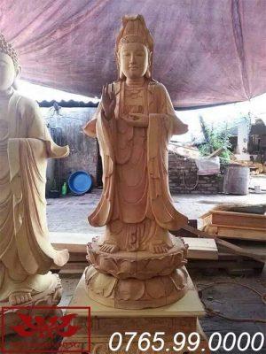 tượng phật bà quan âm thế đứng gỗ mít ms23
