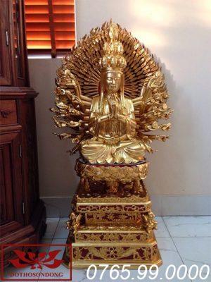 Tượng thiên thủ thiên nhãn bằng gỗ mít sơn son thếp vàng ms01