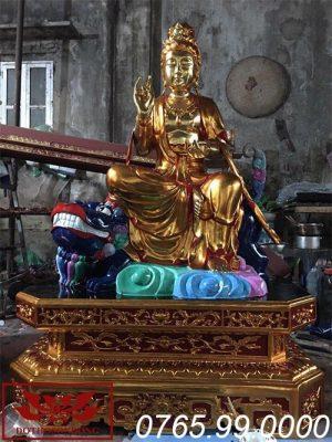 Tượng Văn Thù Bồ Tát gỗ mít sơn son thếp vàng ms03