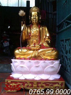 tượng phật thích ca mâu ni gỗ mít sơn son thếp vàng ms01