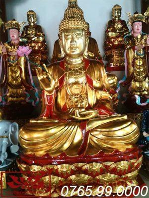 tượng phật thích ca mâu ni gỗ mít sơn son thếp vàng ms02