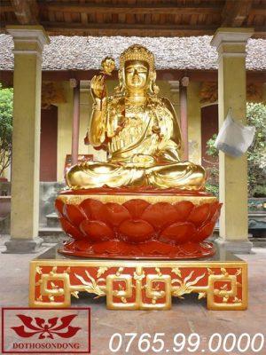 tượng phật thích ca mâu ni gỗ mít sơn son thếp vàng ms03